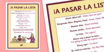 A Pasar La Lista Taking the Register in Spanish Poster English Translation - registration, register, Spanish, basic vocabulary, target language, display, poster