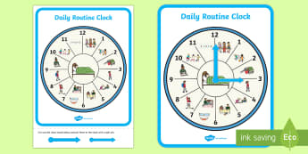 Daily Routine Clock A4 Display Poster - clock, time, daily routine, time, activity, timetable, day, night, hours, evening, morning