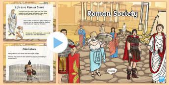 Roman Society Information PowerPoint PowerPoint - Roman, society, hierarchy, citizens, non-citizens, slaves, slavery, freedmen, free men, empire, prov