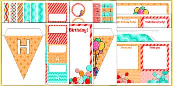 4th Birthday Party Pack - 4th birthday party, 4th birthday, birthday party, pack