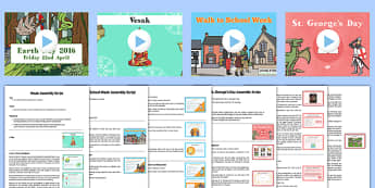 KS2 Summer Term 1 Bumper Assembly Pack - senior leadership, event, key events, summer, assembly, assemblies, whole school, ks2, key stage two, key stage 2, powerpoint, earth day, pentecost, walk to school week, vesak, st georges day