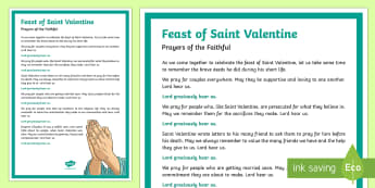 Feast of Saint Valentine Prayers of the Faithful Print-Out-Irish - Prayers of the Faithful, ROI, Ireland, Valentine's Day, Feast of Saint Valentine, Roman Catholic, p