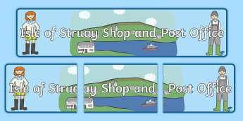 Isle of Struay Shop & Post Office Display Banner - Requests CfE, Isle of Struay, Role Play, Katie Morag Role Play, Post Office role play, Katie Morag a