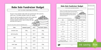 Bake Sale Fundraiser Budget Activity Sheet - worksheet, money, dollars, cents, adding money, shopping, profit