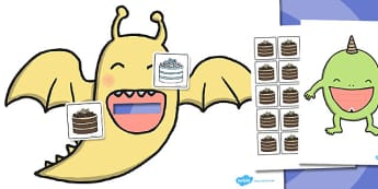 Hungry Monster Fractions Activity - hungry, monster, fractions
