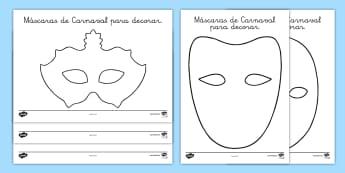 Máscaras de juego de rol de Carnaval para decorar - Carnaval, máscaras, decorar, plantillas