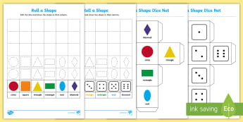 Roll and Draw a Shape Activity Sheet - EYLF, Numeracy, maths, geometry, shapes, 2D shapes, dice, game, ACMMG009,Australia, worksheet