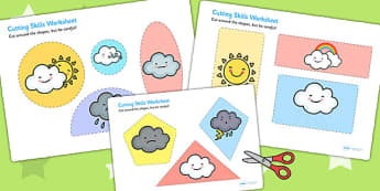 Weather Themed Cutting Skills Worksheet - fine motor skills, cut
