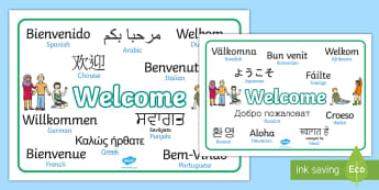 Mixed Language Welcome Word Mats - Welcome sign, bienvenido, bienvenue, wilkommen, welcome, language, differernt languages