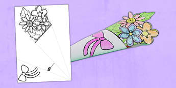 Mother's Day Paper Flower Bouquet Colouring Activity - bouquet, mothers day, paper