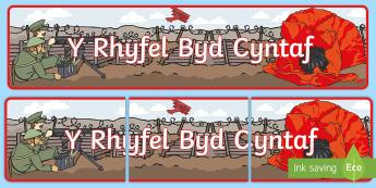 Baner Y Rhyfel Byd Cyntaf - baner, rhyfel byd cyntaf, rhyfel, hanes, Welsh