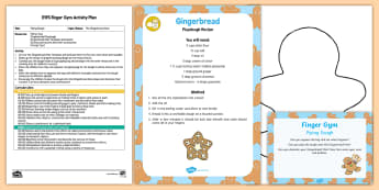 EYFS Piping Dough Finger Gym Plan and Resource Pack - The Gingerbread Man, Traditional Tales, dough, playdough, fine motor control, muscle strength