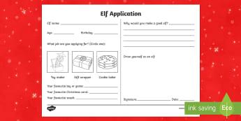 Elf Application - Christmas, elf, handwriting, worksheet