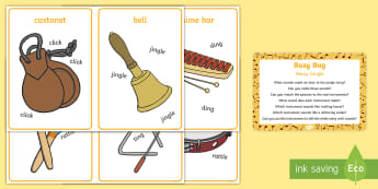 Noisy Jungle Busy Bag Prompt Card and Resource Pack - Rumble in the Jungle, Giles Andreae, Rainforest, instruments, sound story, music, animal sounds, jun