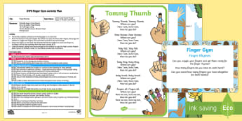 EYFS Finger Rhymes Finger Gym Plan and Resource Pack - Phase 1 Aspect 4: Rhythm and Rhyme, letters and sounds, phonics, fingers, rhyming, circle time, fing