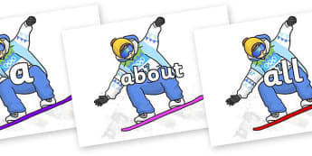 100 High Frequency Words on Snowboarding - High frequency words, hfw, DfES Letters and Sounds, Letters and Sounds, display words