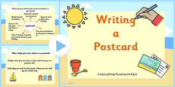 How to Write a Postcard PowerPoint Task Setter - postcard, how to write a postcard, what to write on a post card, writing postcards, sending post cards