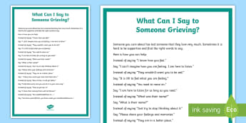 What Can I Say to Someone Grieving? Display Poster - Grieving Through Tragedy, talking, poster, what to say