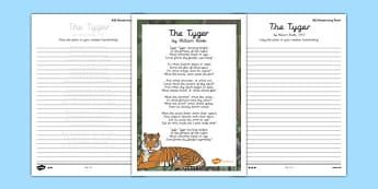 The Tyger Handwriting Poem Pack - the tyger, handwriting, poetry, poem pack