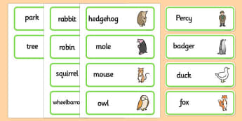 Word Cards to Support Teaching on Percy The Park Keeper - percy the park keeper, word cards, percy the park keeper themed word cards, themed word cards, story book words