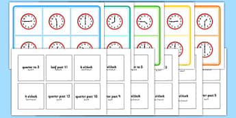Mixed Time Bingo Arabic Translation - arabic, Mixed time bingo, time game, Time resource, Time vocabulary, clock face, Oclock, half past, quarter past, quarter to, shapes spaces measures
