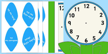 Analogue Clock Flower Labels Words Gaeilge - gaeilge, irish, time, maths, classroom, visual aid, numeracy