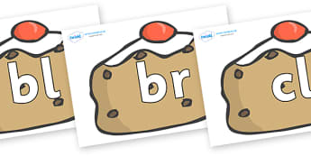 Initial Letter Blends on Currant Buns - Initial Letters, initial letter, letter blend, letter blends, consonant, consonants, digraph, trigraph, literacy, alphabet, letters, foundation stage literacy
