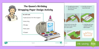 The Queen's Birthday Wrapping Paper Design Activity - KS1, The Queen's Birthday,21st April, 2017, printing, printmaking, print, art, design, art and desi