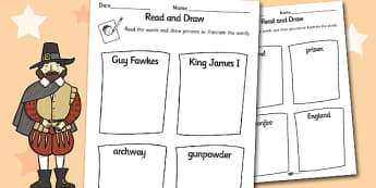 The Gunpowder Plot Read and Draw Worksheet - read, draw, sheet