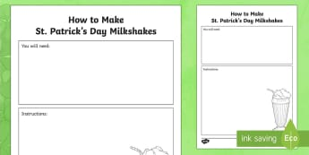 How to Make a St. Patrick's Day Milkshake Writing Template - ROI, St. Patrick's Day Resources, writing template, procedural writing, st patricks day, st patrick