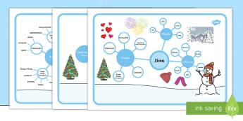 Mapa mentalna Zima - zima, zimowy, mapa, mentalna, święta, ubrania, burza, mózgów, notatki, pogoda, śnieg, szal, cza
