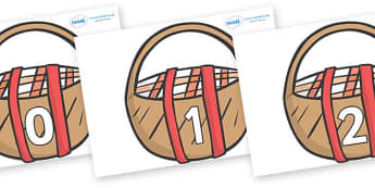 Numbers 0-100 on Picnic Baskets to Support Teaching on The Lighthouse Keeper's Lunch - 0-100, foundation stage numeracy, Number recognition, Number flashcards, counting, number frieze, Display numbers, number posters