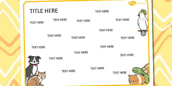 Pets Themed Editable Word Mat - literacy, words, writing, mats