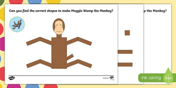 Monkey Shape Activity Sheet Pack to Support Teaching on The Enormous Crocodile - Muggle Wump the Monkey, The Enormous Crocodile, Roald Dahl, worksheet