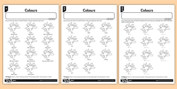 French Colours Activity Sheet - french, activity, colours, sheet, worksheet