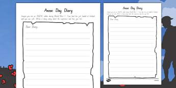 Anzac Day Diary Writing Template - writing, diary, Anzac, literacy, new, zealand, english, history