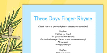 Three Days Finger Rhyme - Easter, song, rhyme, three days, finger rhyme