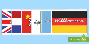 Verschiedene Sprachen Willkommen Poster für die Klassenraumgestaltung - Verschiedene Sprachen Willkommen Poster für die Klassenraumgestaltung Wortschatz mit Bildern, Fremd