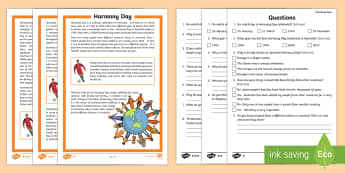 Harmony Day Differentiated Reading Comprehension Activity - Harmony Day, multiculturalism, acceptance, cultural diversity,Australia