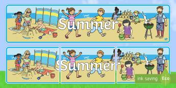 Summer Display Banner - NI, Summer, beach, sun, holiday, display, header, heading, banner, sign, seasons, weather