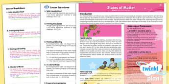 PlanIt - Science Year 4 - States of Matter Planning Overview CfE - planit, science, matter, planning, overview