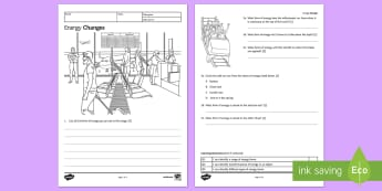 KS3 Energy Changes Homework Activity Sheet