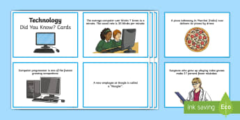 Technology Did You Know? Fact Cards - CfE Digital Learning Week (15th May 2017) Digital learning and teaching strategy, computer science,