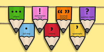 Punctuation on Pencil Bunting - punctuation, pencil, bunting, display bunting, display