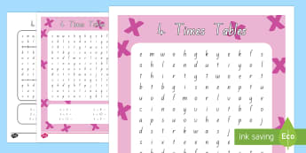 Multiplication 4 Times Tables Word Search Activity Sheet - New Zealand, maths, times tables, multiplication, 4 times tables year 3, age 7, age 8, times tables,