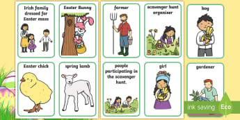 Easter Role Play Badges - Aistear, Infants, English Oral Language, School, The Garda Station, The Hairdressers, The Airport, T