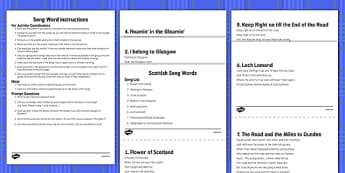 Burns Night Song Words and Instructions for Activity Coordinators - Elderly, Reminiscence, Care Homes, Burns' Night