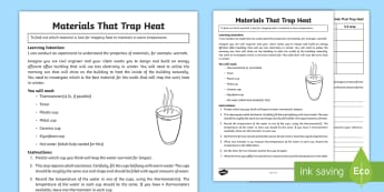 Design Technology Trapping Heat Experiment Activity Sheet - Australia YR 3 and 4 Design Technology, heat, warmth, testing materials, worksheet, testing warmth,