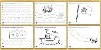 Pirate Themed Pencil Control Worksheets - pirates, pirate, pencil control worksheet, pencil control, pirate pencil control, fine motor skills, fine motor