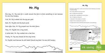 Mr. Pig Literary Recount Writing Sample - Literacy, Mr. Pig Literary Recount  Writing Sample, year 1, year 2, recount, writing, writing sample